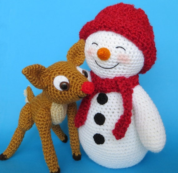 Crochet Snowman And Fawn Pattern English Only