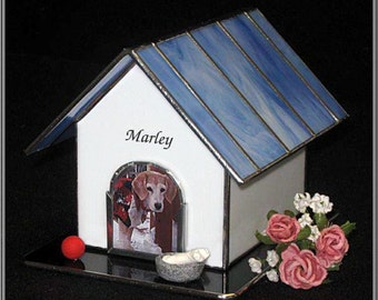 Pet Urn - Small #5B Dog House Cremation Photo Urn in stained glass