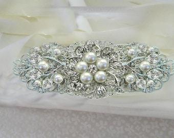 wedding dress sash, bridal belt , wedding sash, pearl wedding belt, Pearl bridal sash, silver crystal pearl, Pearl wedding sash belt