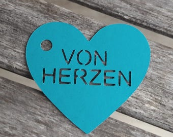 "10 tags/gift tag ""from the Heart"" any other language possible"