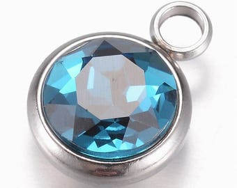 1pc, 14x10x6.5mm, Glass Charms, Faceted, With 304 Stainless Steel Findings, Flat Round, Teal
