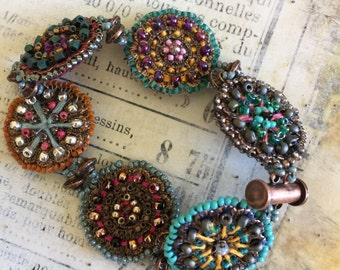 Beaded Copper Medallions Bracelet