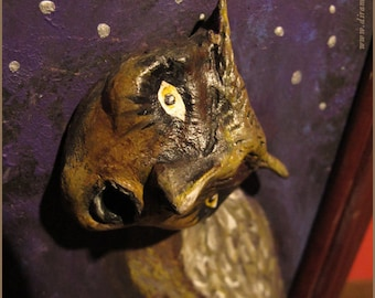 The Owl Lady -OOAK mixed media artwork sculpture painting - Windows on this world