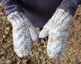 Fossil Handknit Cable Mittens