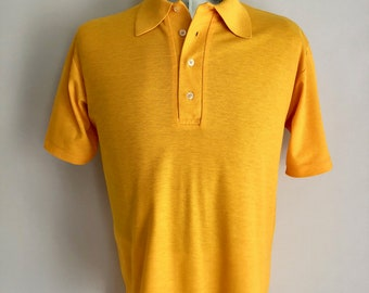 Vintage Men's 80's Yellow-Orange Polo Shirt, Short Sleeve by Court Casuals (XL)