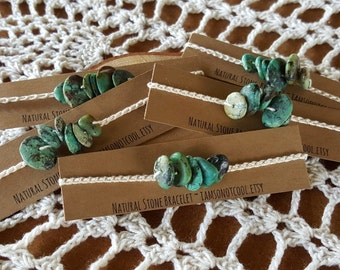 African Turquoise Bracelet / Crochet Cotton Bracelet / Natural Stone Bracelet / Organic Jewelry / Bohemian Jewelry / Turquoise Bracelet