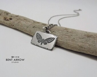 Sterling silver moth necklace, moths pendant, luna, moonlight, amulet, artisan, nature, butterfly, insect, moth lover, fly, wings, darkness