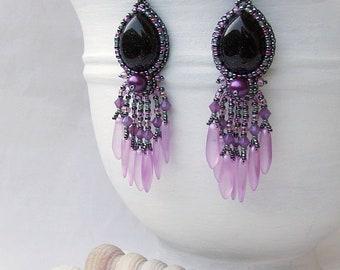 Purple Dangle Earrings Bead Embroidery Earrings Blue Teardrop Seed Bead Earrings Birthday Gift for Girlfriend Anniversary Gift for Wife