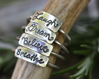 Sterling Silver Word Ring Word Rings Handwriting Jewelry Silver Stacking Rings Stackable Rings Dainty Ring Breathe Laugh Dream Believe