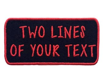Custom Embroidered Name Tag Iron On Patch-2 Lines Of Text-Choose Your Thread Color!