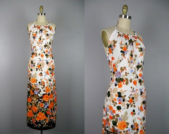 Vintage 1970s Floral Border Print Dress 70s Polyester Knit Halter Maxi Dress Size S