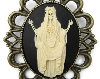 Broche camee retro vintage Santa Muerte Catrina dia de los muertos halloween rockabilly pin up gothique grande dimension