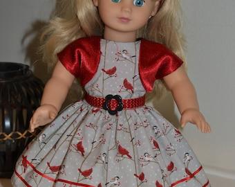 Beautiful Christmas dress, headband, belt, and bolero for your 18 inch doll