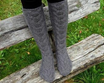 Knit wool slipper socks, Knit Chunky Knee Socks, Cable Knit Slipper Boots, Stockings, Knitted  Socks for home, socks for sleep
