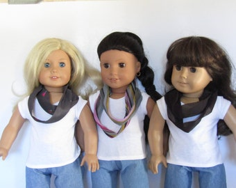 """Infinitiy Scarf Set of 3 fits Dolls Like Gotz or American Girl Doll Clothes 18"""""""