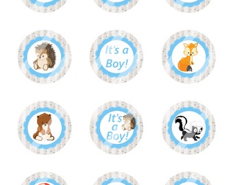 INSTANT DOWNLOAD/ Woodland Animals/Baby Boy - It's A Boy/Digital Cupcake Topper Image Sheet /2 Inch Circles / 8.5x11 Collage Sheet / # CT155