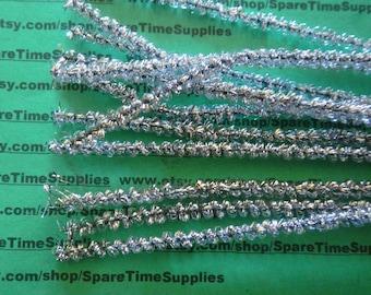 "Loopy Tinsel Stems - silver - 6 mm x 12"" - 12 pcs - Fibre Craft - #3271-62"