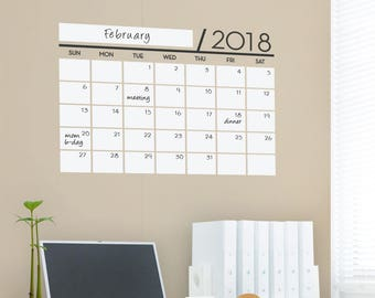 Unique Dry Erase Board Decal - 2018 Wall Calendar - Vinyl Wall Sticker