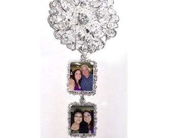 DIY - Bouquet Charms - 2 Wedding Bouquet Photo Charm Memorial Silver Crystals - FREE SHIPPING