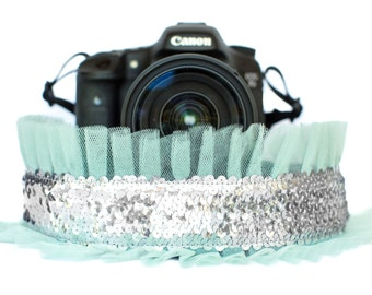 Sequin Camera Strap Silver with Mint Tulle