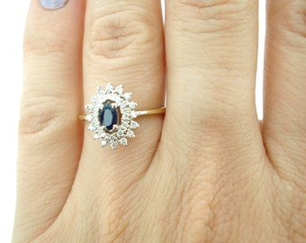 Sapphire Ring, Sapphire Engagement Ring, Sapphire and Diamond Ring, Vintage Sapphire Ring, Art Nouveau Ring, Weddings, Fast Free Shipping