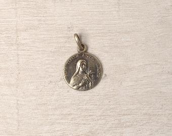 French Vintage Saint Teresa Religious Medal, Round, Beata Theresa