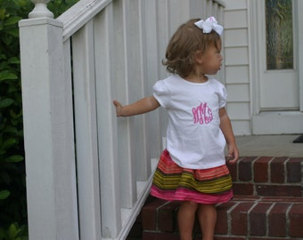 Monogrammed Toddler Girl Tee Shirt Personalized