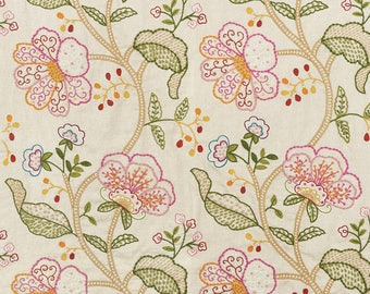 Schumacher Full Bloom Hand Embroidered Fabric by the Yard