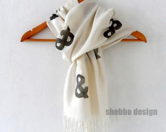 Ampersand Scarf in Cream, Hand stamped Pink Tassel scarf, women scarves, wedding scarves