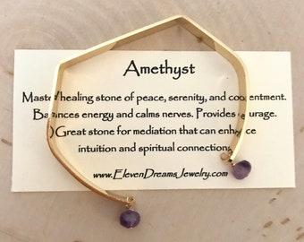 Amethyst Healing Gemstone Cuff (Gold)
