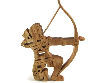 Archer Bow Hunter Wood Jigsaw Puzzle Handcrafted From Oak Wood By KevsKrafts
