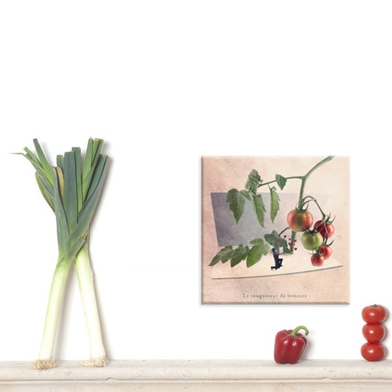 Wall Art Canvas, Photo Canvas Prints, Tomato art print, green and red decor, Fine art photography, kitchen decor, Fun print, Tiny trades