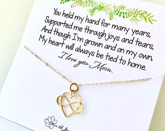 Gift for Mom, Mothers Day Gift, Infinity necklace, love, heart charm, rose gold, mother of the bride gift from daughter, sentimental, Otis B