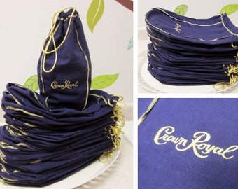 Crown Royal Bags Lot of 42 Purple Bags with Gold Embroidery and Pull String Closure for 750 ml Bottle for Arts & Crafts Projects (IV)