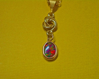 Opal Necklace --  ON SALE  -- Mexican Opal and Gold Necklace - One of a Kind Opal Necklace