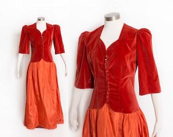 Vintage 1940s Dress - Coral Red Velvet Taffeta Full Skirt Gown 40s - Medium
