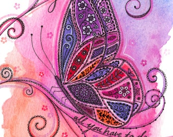 Butterfly in Pinks, Purples and Coral