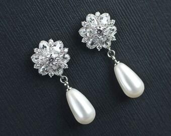 Bridal Earrings, Wedding Bridal Pearl and Cubic Zirconia Earrings, Vintage Flower Shape CZ Post Earrings and Teardrop Swarovski Pearls