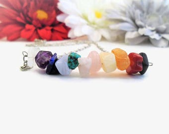 Reiki infused 7 chakra rainbow necklace, raw healing crystals and stones, raw & natural crystal jewelry, Reiki healing and chakra balancing