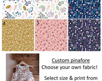 baby, girls pinafore dress custom made choose your own fabrics 0-10 years floral, purple, yellow, pink, blue