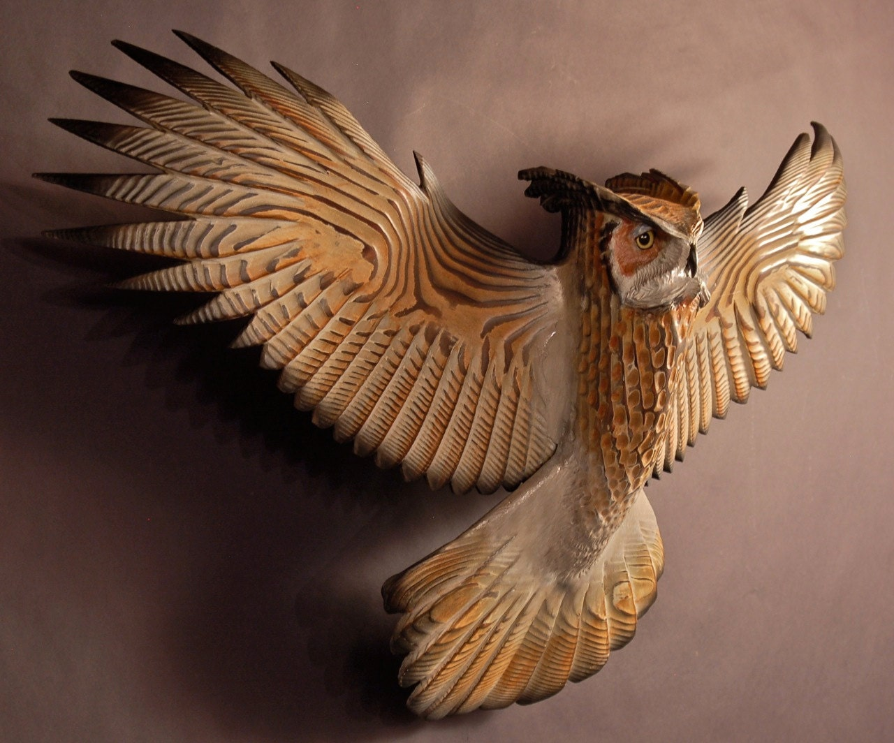 Owl woodcarving by jason tennant silent flight small