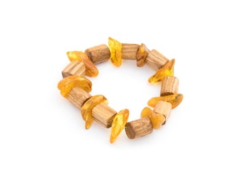 Baltic Amber bracelet with wood