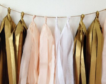 Tassel garland, tissue tassel garland, tissue garland in peach, white and vintage gold, wedding, shower, birthday party decor