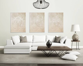 Wall Art Abstract Print Picasso Print Neutral Wall Art Abstract Art Prints Picasso Sketch Taupe Wall Art Beige Wall Art Neutral Prints