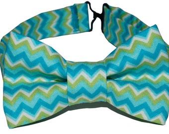 Bow Tie - Blue Chevron Bowtie
