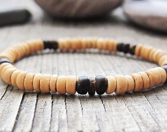 Wood bracelets Wooden bracelet Vegan bracelet gifts Surfer bracelets Boho jewellery Wood bead bracelet Yoga bracelets Cheap gifts for mens