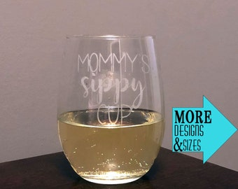 Mommy's Sippy Cup Etched Stemless Wine Glass