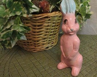Antique 1930's-40's Chalk Pink Bunny Rabbit Easter Chalkware Figure