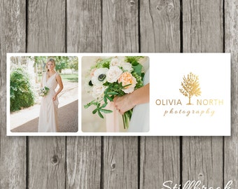 Facebook Timeline Template for Photographers - Gold Tree Logo Wedding Photography Timeline Cover Design - FB Cover Photo Header - TC25