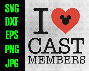 Disney heart - svg, dxf, eps, png, jpg cutting files - cricut, silhouette iron on Disney I love cast members Disneyland Disneyworld working